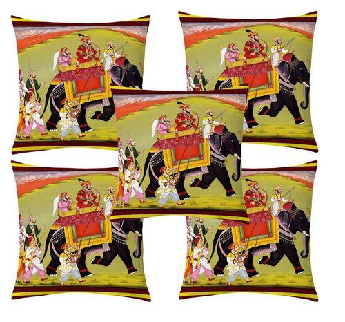 Ethnic printed velvet cushion cover