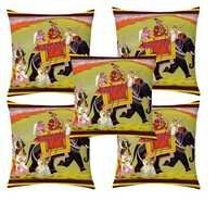 Ethnic printed velvet cushion cover