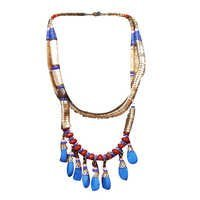 Blue Stone Beads With Gold Metal Chain Necklace