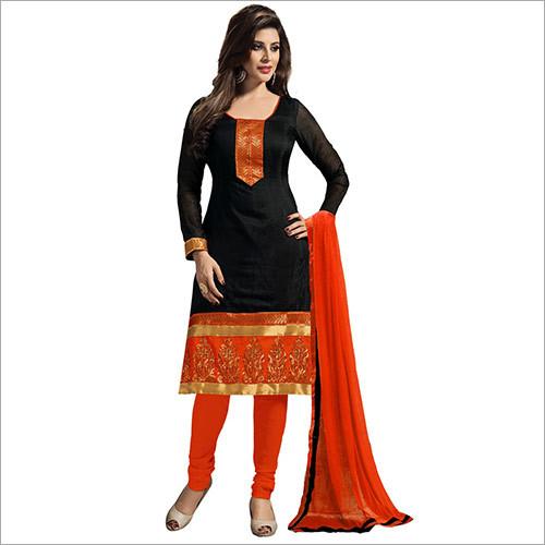 Salwar Suits-Chanderi Black