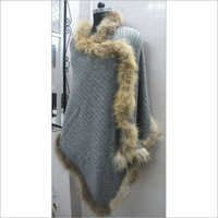 Cable Knitted Pashmina Wool Shawls with Fur