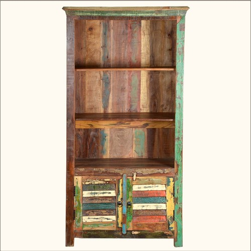 Reclaimed Wood 3 Shelves & Chest Of Drawers Unit