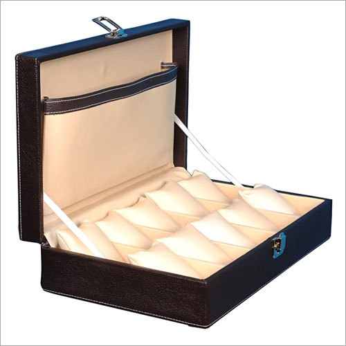 Hard Craft Watch Box Case PU Leather for 10 Watch Slots - Brown