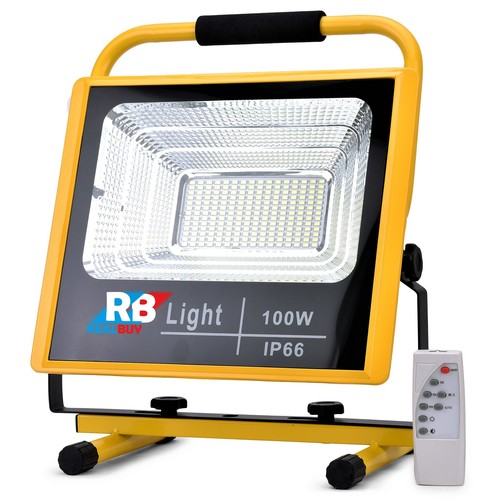 RealBuy Rechargeable LED Flood Light 100W with 12000mAh Lithium Battery and Remote Control, Cool White (IP66 Water-Proof)