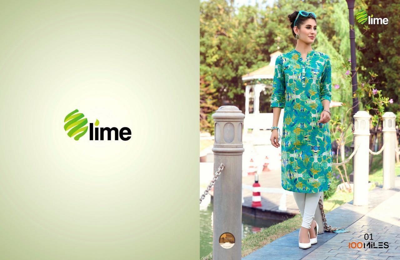 Lime Cotton Kurtis