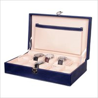 Hard Craft Watch Box Case PU Leather for 10 Watch Slots - Blue