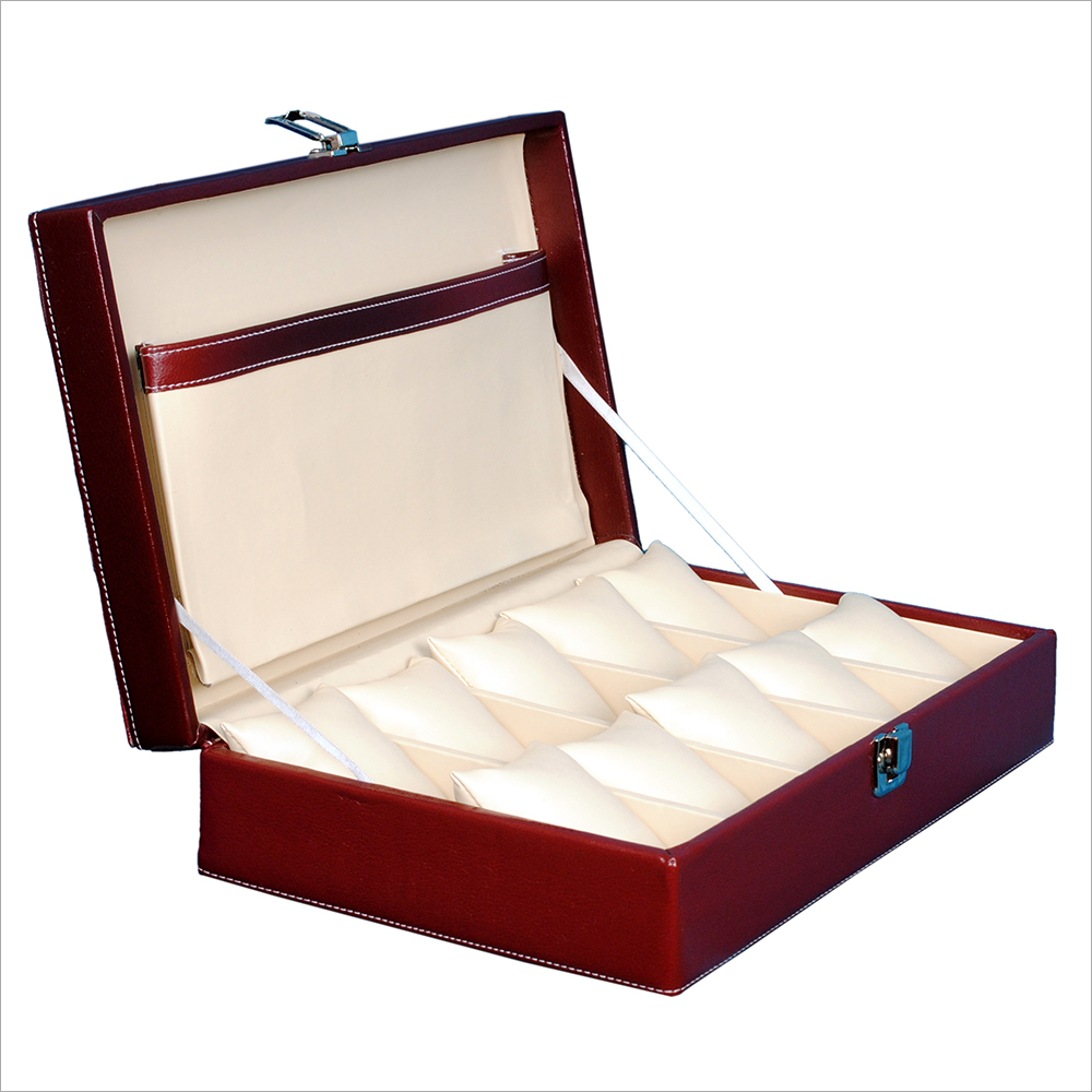 Fico Maroon Watch case For 10 Watches