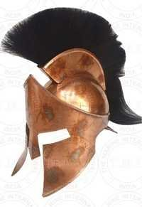 Copper Antique 300 King Leonidas Armour Helmet With Black Plume