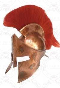 Copper Antique 300 King Leonidas Spartan Helmet With Red Plume