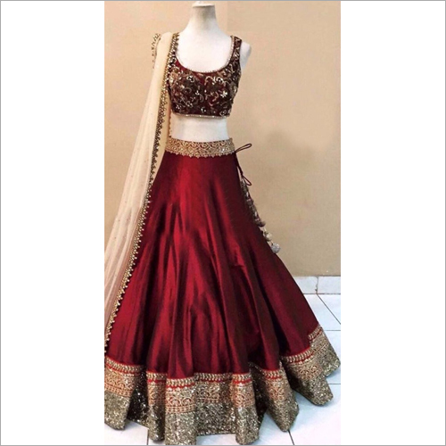 Red Designer Heavy Border Lehenga