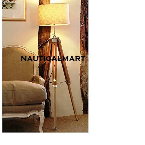 Vintage Classic Teak Wood Tripod Floor Lamp Nautical Floor Home Decor lamp Shade lamp