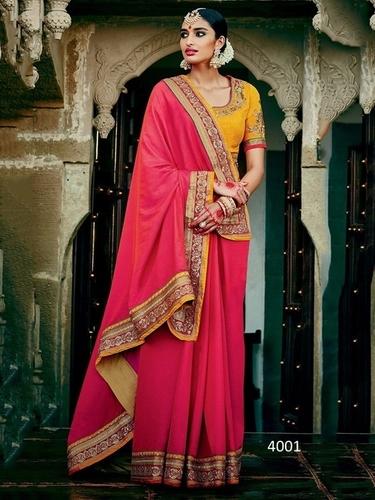 Rani Two Tone Silk Beautiful Stanning Saree  With Orange Banglori Silk Blouse