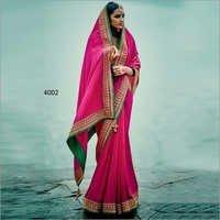 Rani Two Tone Silk Beautiful Stanning Saree  With Green Banglori Silk Blouse