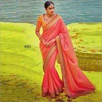 Orange And Rani Two Tone  Two Tone Silk Beautiful Stanning Saree  With Orange Banglori Silk Blouse