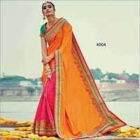 Yellow  And Rani Two Tone Silk Beautiful Stanning Saree  With Green Banglori Silk Blouse