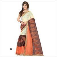Beige And Orange Designer  Chanderi Cotton  Embroidery Saree With Brown Blouse Fabric