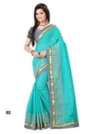 Sky Blue Designer  Chanderi Cotton  Embroidery Saree With Blue Blouse Fabric