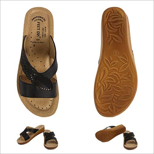 Classy Cut Work  Ladies Black Footwear