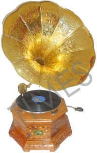 Antique  Wooden Carving Gramophone