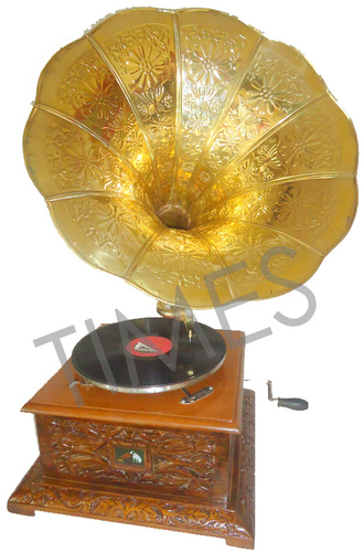 Antique  Wooden Carving Square Gramophone