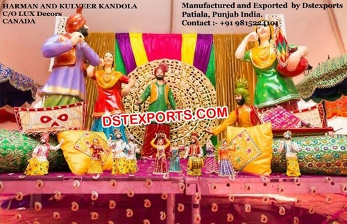 Punjabi Sikh Wedding Stage Decor Set Punjabi Sikh Wedding Stage