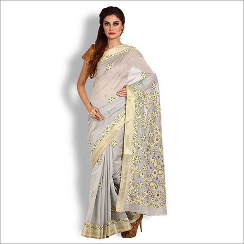 Slate Grey Kota Cotton Chikankari Saree