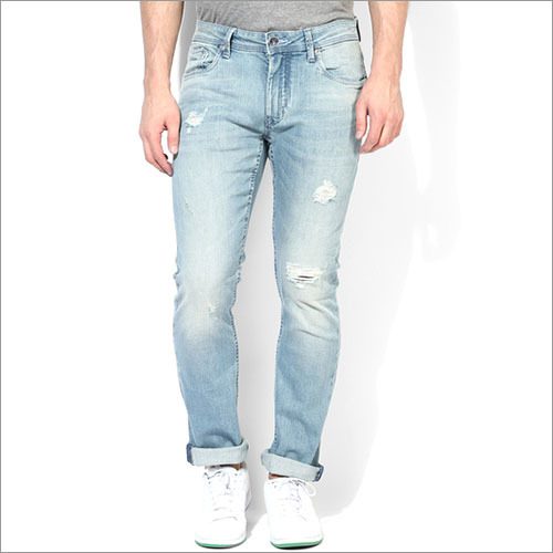 Flying Machine Blue Washed Mid Rise Slim Fit Jeans