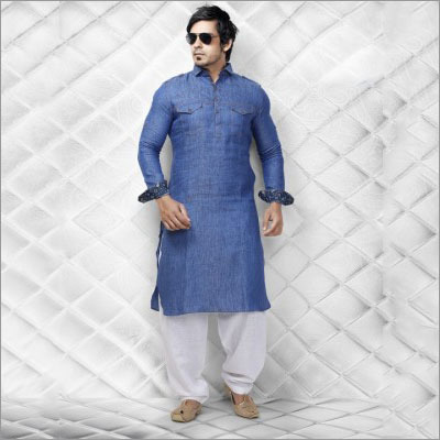 Cotton Blue Party Pathani Suit