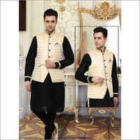 Black Designer Kurta Pajama With Brocade Jacket