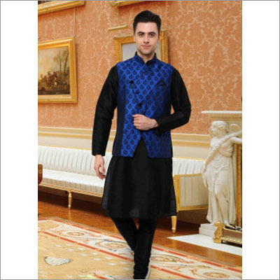 Black Festival Wear Indian Kurta Pajama With Blue Jacket