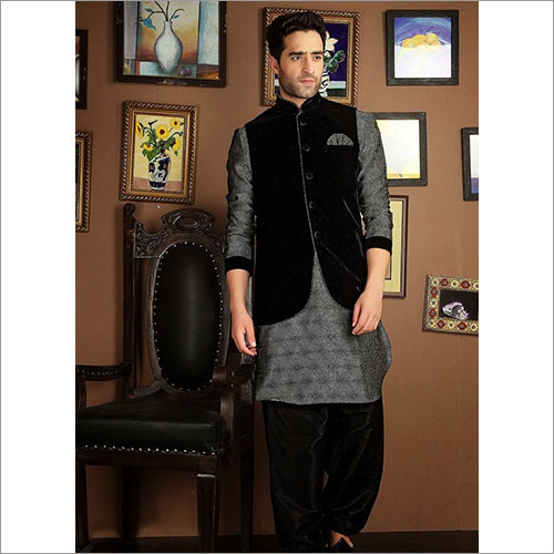 Black Valvet Jacket With Kurta Pajama