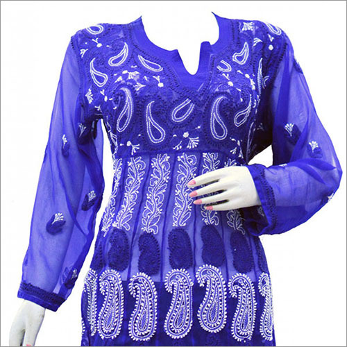 Blue Anarkali Chikan Embroidery Kurti