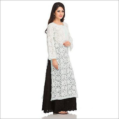 Long Sleeves Chikan Embroidery Kurti
