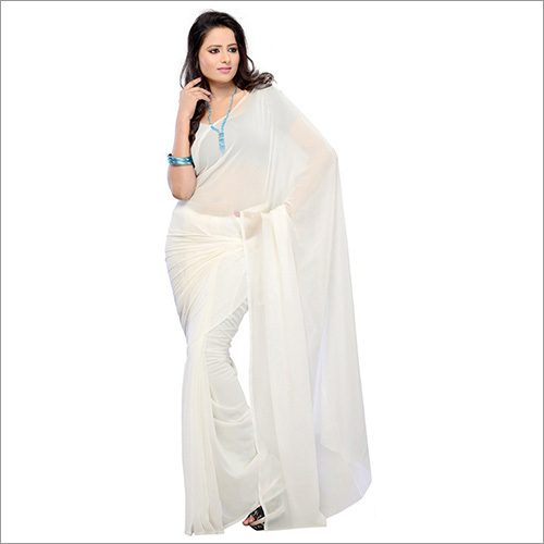 Plain White Chiffon Saree