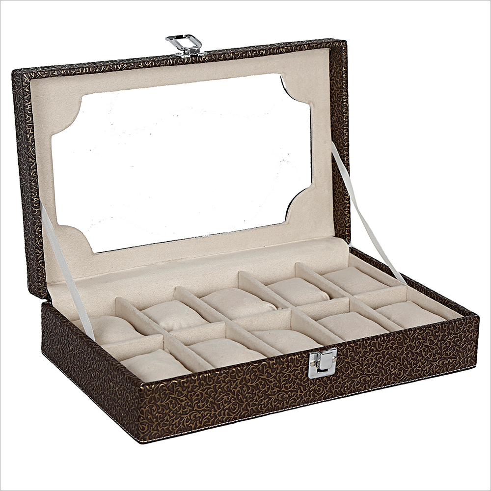 Hard Craft Golden-Brown Watch box For 10 Watches