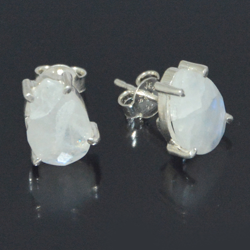 Rainbow Moonstone Prong Set Earring