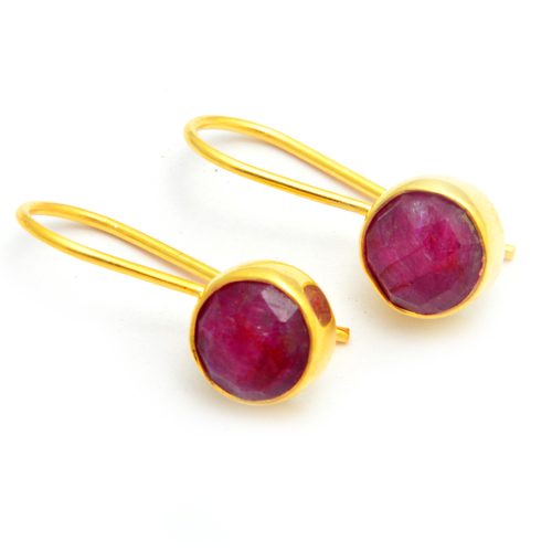 Red Ruby Gold Plated Gemstone Earring