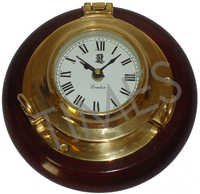 Nautical Wood & Brass Clock