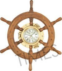 Wooden Ship Wheel Wall Clock