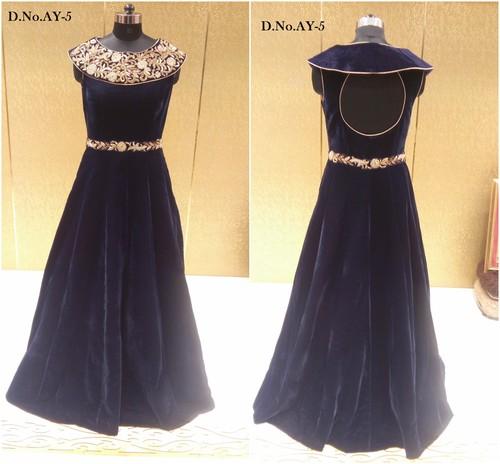 Buy Designer Velvet Long Gown Online