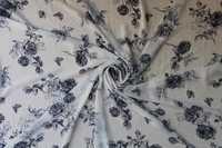 Black Floral Printed Chiffon Fabric