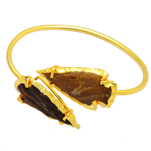 Agate Arrowhead Adjustable Gold Plated Bracelet