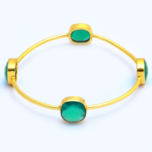 Gold Plated Green Onyx Bracelet