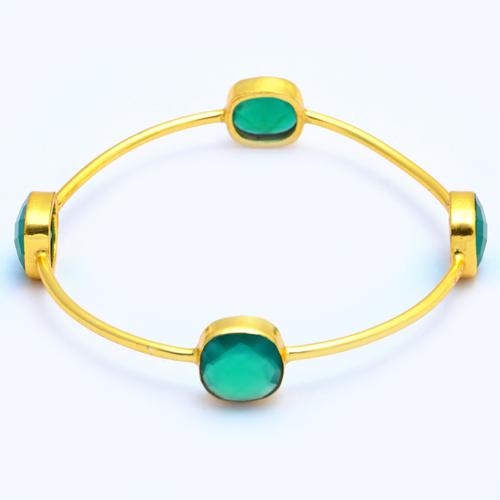 Gold Plated Green Onyx Bracelet