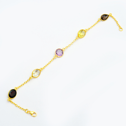 Multi Gemstone Gold Plated Bracelet