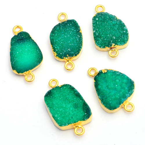 Gold Electroplated Green Druzy Connector