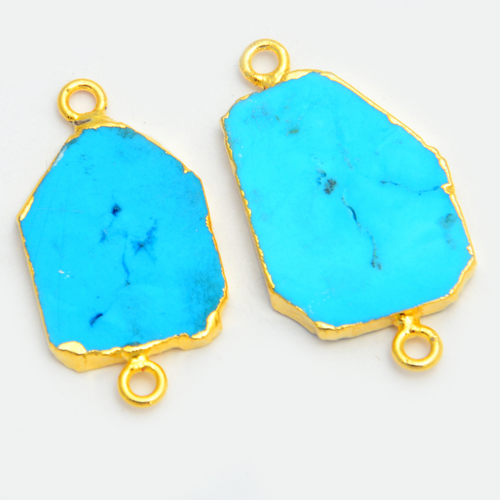 Turquoise Gold Electroplated Slice Connector