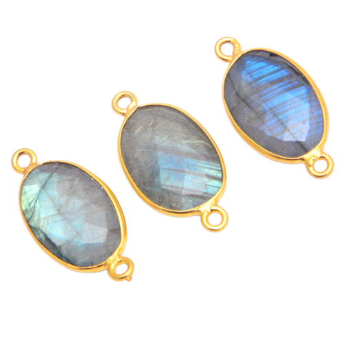 Labradorite Gemstone Oval Cut Bezel Set Connector