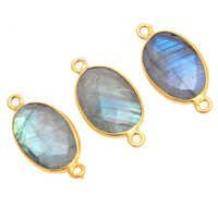 Labradorite Gemstone Bezel Set Connector