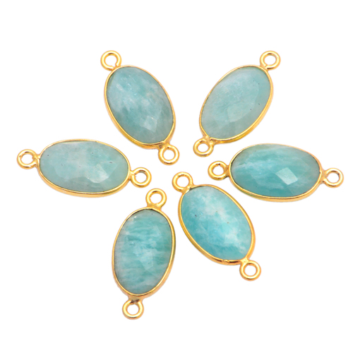Amazonite Gemstone Bezel Set Connector